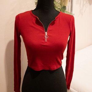 Scarlet red zipper-front crop top
